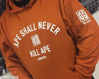 "Planet of the Apes Sweatshirt ""Ape Shall Never Kill Ape"" Orange"