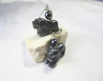 lion earrings - hematite earrings - lion jewelry - sterling silver