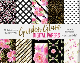 Floral Digital Paper: Black & White Stripes-Rose Pink Flower Patterns-Scrapbook, Stickers, Invitations, Backgrounds