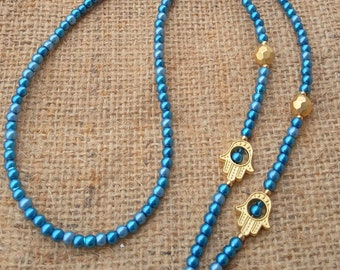 Hamsa Hand Eyeglass Chain, Eyeglass Chain Holder, Blue Bead, Beaded Eyeglass Chain, Glasses Chain, Eyeglass Necklace, Gift for Woman,