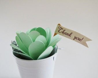 Set of 12 Mini Pennant Flags - Thank You
