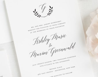 Wreath Monogram Wedding Invitations - Sample
