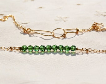 Contemporary Crystal Gold Filled Chain Necklace Dainty Green Crystal Gold Filed Necklace Gold Filled Jewelry Handmade Israel Free Shipping