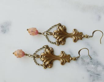 Earrings, Large vintage style pink glass and filigree chandelier earrings