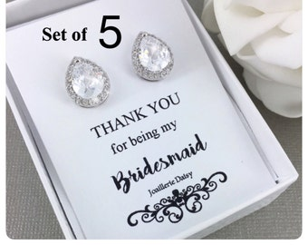 Set of 5 Wedding Earrings Crystal Stud Earrings Bridal Earrings Bridal Jewelry Gift for Her Cubic Zirconia Earrings Maid of Honor Gift