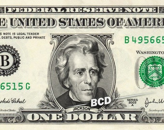 ANDREW JACKSON on a Real Money - Custom Dollar Bill Art - Cash