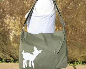 Olive green cotton canvas messenger bag / shoulder bag / deer messenger /diaper bag / fawn sewn