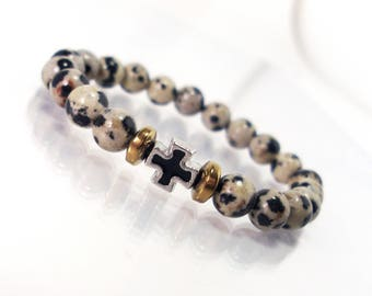 Children's  Bracelet - Dalmatian Jasper & Steel Cross,Bracelet for Children,Cross Bracelet,Gemstone Bracelet,Kids Bracelet,Gift for Children