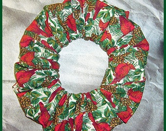 Winter Cardinals in the Pines Hair Scrunchie, Ponytail Holder, Fabric Hair Tie