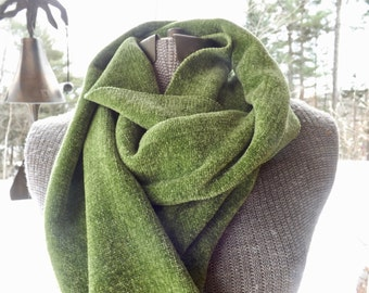 Greenery Handwoven Rayon Chenille Scarf