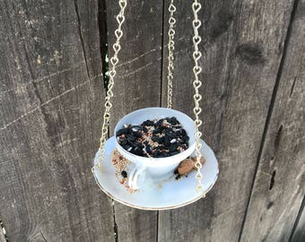 Bird Feeder with Bird's Seed, Bone China Japan, Antique Teacup & Saucer with Single Bag Bird Seed, Gold Trim and Chain, Item #594770001