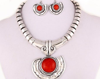 Bold Red And Silver Jewelry Set