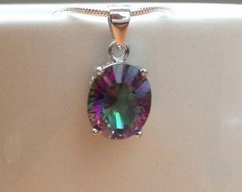 Oval Rainbow Fire Mystic Topaz Sterling Silver Snake Necklace