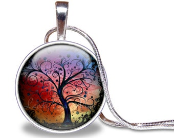 Tree Necklace, Colorful Tree Pendant, Glass Tile Necklace, Tree Jewelry, Tree of Life Necklace, Rainbow Necklace, Rainbow Jewelry, Nature