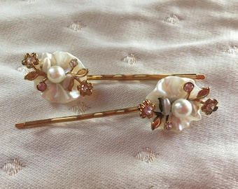 Delicate Pearl and Rhinestone Bobby Pins