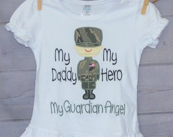 Personalized Military Man/Woman My Parents My Heroes Guardian Angel Applique Shirt or Bodysuit Boy or Girl