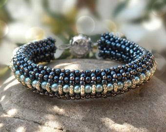 DIY Tutorial, handmade jewelry making pattern Elizabeth Bracelet, RAW Beading pattern - beaded bracelet pattern, PDF