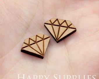 4pcs (SWC208) DIY Laser Cut Wooden Diamond Charms