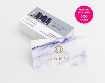 Monat Business Card Design 500 Business Cards Printed Template Personalized Calling Card Hair Care Cards Marketing Marble Faux Gold Foil