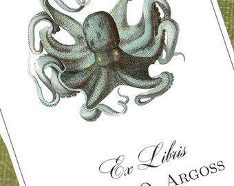 Custom Bookplate with Nautical Octopus Motif - Set of 24