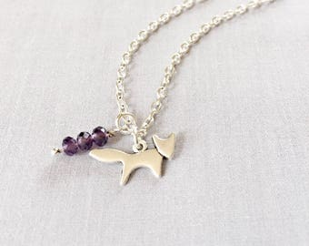 Forest Fox Necklace with Purple Crystal Charm,Fox Jewelry Necklace,Fox Necklace,Silver Fox Charm, Fox animal Jewelry,Wild Animals,Forest,Fox