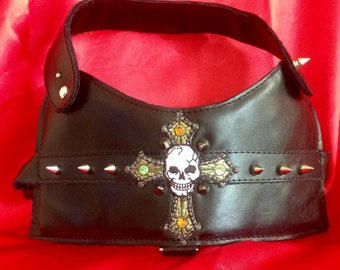 "Harness ""DARK"" cross, nail, leather, Gothic, black, luxury, style, studded, accessory dog, dog clothing, dog collar"