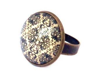 bronze 18mm black cabochon rose ring vintage glamour pattern