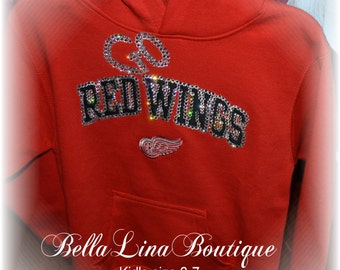 Kids Genuine Swarovski Crystal Blinged Detroit Red Wing Hoodie - Children's Size Small 6-7 - GO RED WINGS! - Ready to Ship!