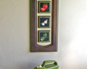 """1970's Tole Painting on Kitchen Cabinet Door """"Fun With Vegetables"""""""