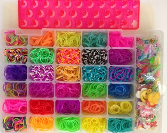 30 Colors 3000 Rainbow Color Loom /Temperature Color Change /Tie Dye Loom /Glitter Loom / Charm /Crochet /Chips  DIY Band Kit Girls Favorite