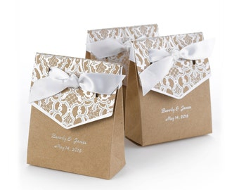 Personalized Wedding Kraft Paper Tent-Shaped Favor Boxes | White Lace Pattern On Flap With White Satin Bow With Foil Pressed Names And Date.