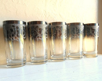 Set of 4 5 Silver Rimmed Mid-Century Modern Highball Drinking Glasses Tall Tumblers