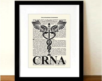 "Fine Art Print - ""Certified Registered Nurse Anesthetist - Caduceus "" 8.5""x11"", Medical print, Registered Nurse Gift, Medical Art Decor"