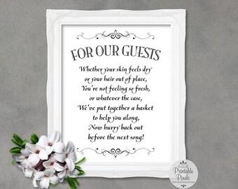 Bathroom Basket Sign, Black Lettering, Printable, Wedding, Toiletries Basket (#BT13B)