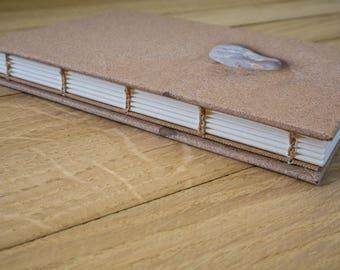 Coptic stitch journal - handmade notebook, pebble photographic covers, coptic binding, coastal themed, handbound journal, blank notebook