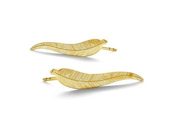 Leaves Sterling Silver Earrings Gold Plated Gift 25 mm x 7.5 mm