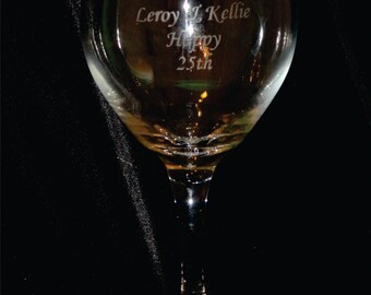 Red Wine Glass 20 oz Custom Deep Etched - Set of 2