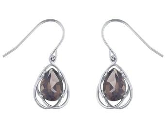 4 Ct Genuine Smoky Topaz Pear Teardrop Design Dangle Earrings .925 Sterling Silver