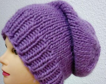 Hand knit hat Oversized Chunky Wool  Hat   purple, hat slouchy hat   purple, cable hat Superwash Wool