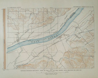 Ohio river map Etsy