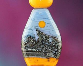Snowy Cliffs Set of Three Handmade Lampworked Glass Beads OOAK Orange Blue Brick Silver Black Shield Rondelles Lampwork