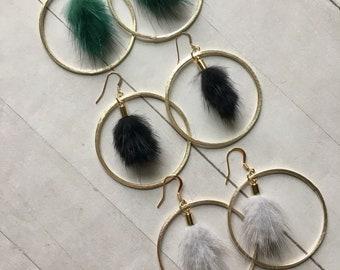 Boho Gold Hoop Earrings, Black Mink Earrings, Gold Hoop Earrings, Statement Hoop Earrings, Boho Festival, Gifts for Women, Bohemian Wedding