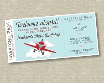 Airplane birthday invitation, airplane ticket invitation, plane ticket invitation, vintage airplane invitation, vintage airplane party