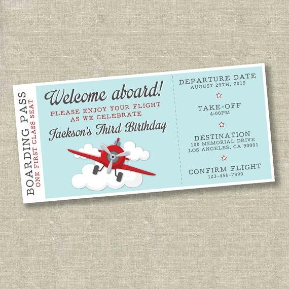 Airplane birthday invitation airplane ticket invitation