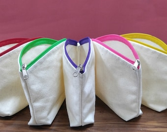 100% Cotton Round-Top Cosmetic Pouch Bag / Heavy Duty Cotton Canvas Fabric