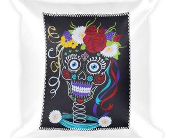 Natasha Sugar Skully Bride Original Art Print Pillow