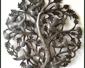 "Metal Wall Decor, Metal Art, Tree of Life 24"" - Haitian Art, Steel Drum Art, Outdoor Metal Art, Metal Art Sculpture, Haitian Wall Art -433"