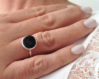 Unique Silver Ring, Black Stone Ring, Druzy Ring, Pinky Ring, Delicate Ring, Elegant Ring, Silver Ring, Gemstone Ring, Unique Ring