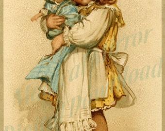 Vintage Girl with Doll Instant Digital Download