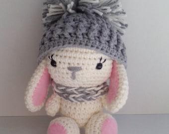 Crochet Bunny, White rabbit in a pom-pom hat, Amigurumi
